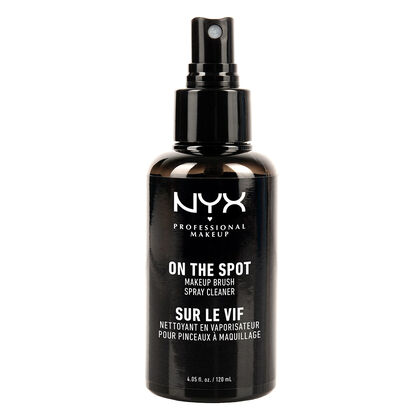 on the spot makeup brush cleaner spray   nyx professional