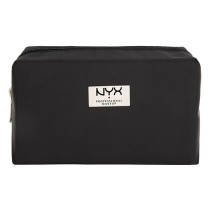 Black Medium Rectangular Zipper Makeup Bag