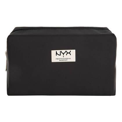 Black Medium Rectangular Zipper Makeup Bag
