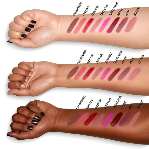 Powder Puff Lippie powder lip cream swatches on differernt skintone arms