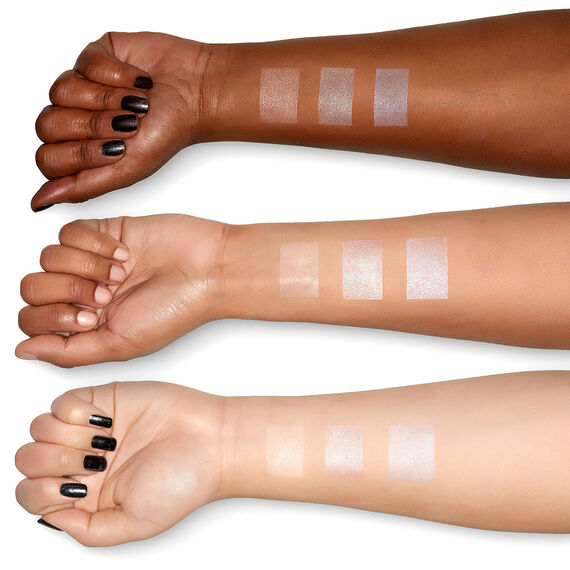 Love you so Mochi Highlight Palette Lit Life swatches on different skintones arm