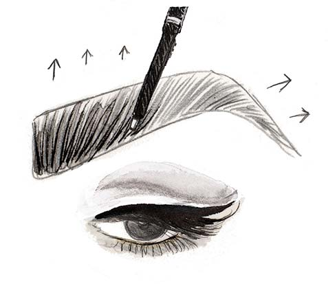 step by step how to draw an eyebrow