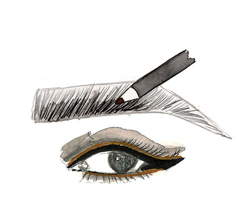FILL in the inner part of brows with the pencil end of the Eyebrow Powder Pencil, going lightly at the inner bottom.